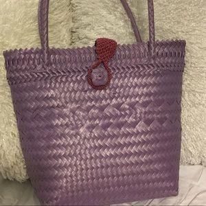 Lilac Mauve woven look bag two handles 13x11